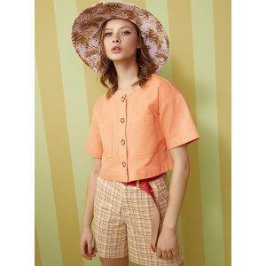 Buttoned boxy organic cotton shirt