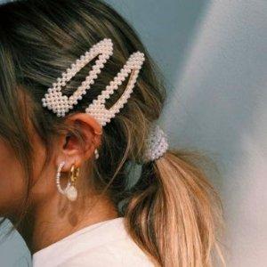 低至2折 珍珠发卡$4.99Simons 饰品发卡特卖 珍珠耳钉$9.99 $刺绣发带14.99