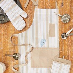 白菜价:Better Homes&Garden 厨房围裙、隔热手套3件套 米色