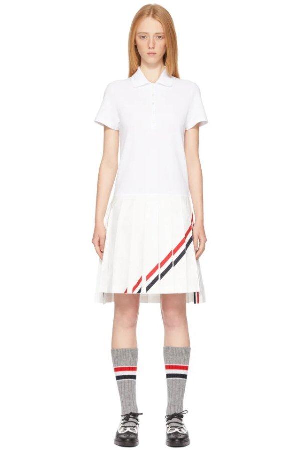 斜条纹百褶polo裙
