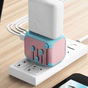 $20.99(原价$26.99) 三色可选SANUORCH 全球转换插头 4个USB接口 爱旅游的你别错过啦