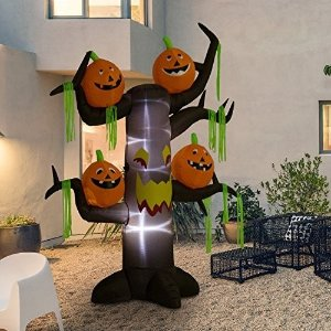 HouzzHomCom 8' Outdoor Inflatable Haunted Tree With Jack-O-Lanterns - Contemporary - Outdoor Holiday Decorations - by Aosom