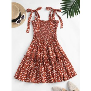 ZafulLeopard Tie Shoulder Smocked Tiered Dress RED WHITE