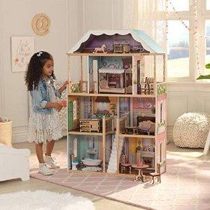 $67.99(原价$139.99)KidKraft 夏洛特6间房豪华娃娃屋,带顶层阁楼
