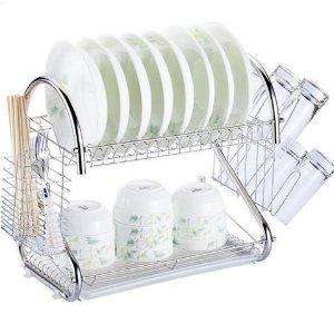 $13.89 包邮闪购:双层金属厨房碗碟滤水架