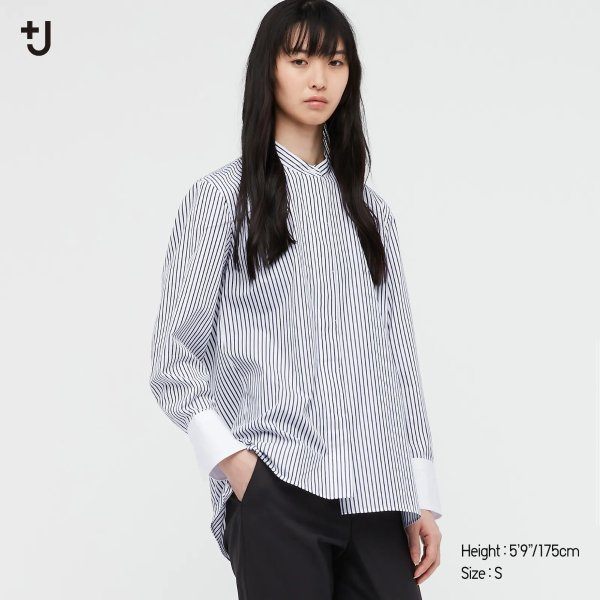 WOMEN +J Supima条纹衬衣
