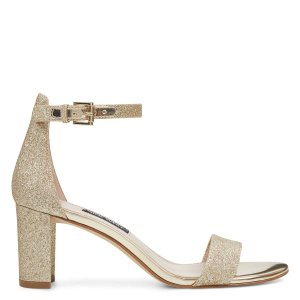 Nine WestPruce Ankle Strap Block Heel Sandals - Gold Glitter