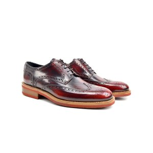Red Polished Leather Men Derby Wing Brogue | DIS