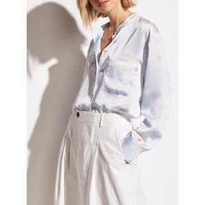 VincePainted magnolia blouse