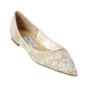 Jimmy Choo蕾丝平底鞋