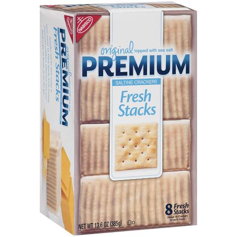 $11.50Premium Original Fresh Stacks Saltine Crackers, 6 - 13.6 oz Boxes