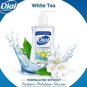 Dial Antibacterial Liquid Hand Soap, White Tea, 7.5 Fluid Ounces (Pack of 12)