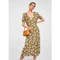Mango V领花朵连衣裙