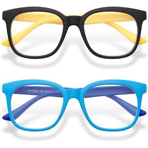 2-Pack Kids Blue Light Glasses Girls & Boys Age 3-15, Computer Gaming Fake Eyeglasses Anti Eyestrain
