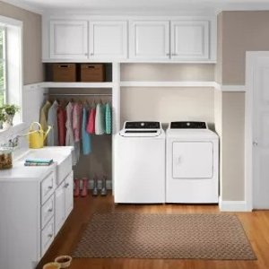 Frigidaire FRWADRGW4 Side-by-Side Washer & Dryer Set with Top Load Washer and Gas Dryer in White