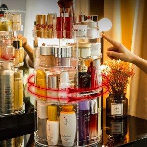 360度旋转可调式化妆品收纳展示柜 超大容量
