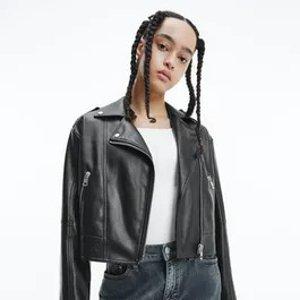 Calvin Klein人造皮革摩托车夹克