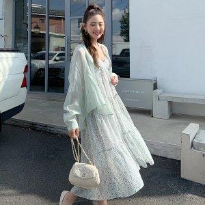 Sheer Shirt & Floral Dress Two-Piece Set
