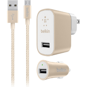 $9Belkin Home and Car USB Chargers with Micro-USB Cable