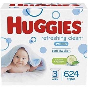 HuggiesRefreshing Clean 防过敏宝宝湿巾, 共624抽