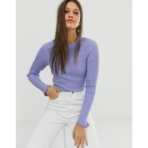 recycled blend crew neck sweater in skinny rib in twist | ASOS
