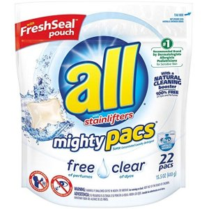 $2.99all Mighty Pacs Laundry Detergent, Free Clear for Sensitive Skin, Unscented, Pouch, 22 Count