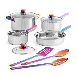 Mainstays Iridescent Stainless Steel Cookware Set, 10 Piece