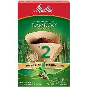 50张Melitta竹制咖啡过滤器(竹制)