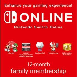 Nintendo Switch Online 家庭制会员 12个月 数字礼卡