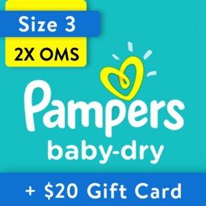 Pampers$20 禮卡Baby-Dry 嬰兒紙尿褲兩箱,以N+1號356片為例