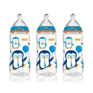 NUK® Bottle with Perfect Fit™ Nipple, 10-Ounce Medium Flow, Penguins, 3 Pack