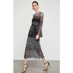 BCBGMAXAZRIAMetallic Lace Midi Dress