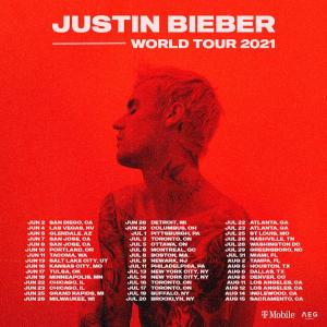 票价$75起 连开45场Justin Bieber 2021 世界巡演售票开启,北美6月开唱