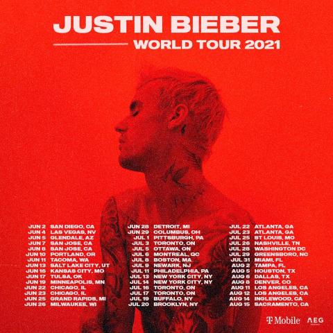 On SaleJustin Bieber Ticket 2020-2021 Concert Tour Dates