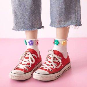 小花朵卷边堆堆袜