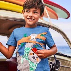 $12.6起 精致又可爱即将截止:Mini Boden 儿童T恤等上衣7折Memorial Day大促