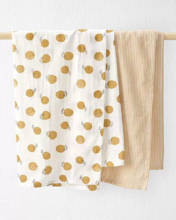 婴儿有机棉纱布巾两条装