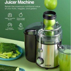 $84.99(原价$99.99)Aicok 高速离心榨汁机 高效制作营养果汁 超大进口不锈钢机身