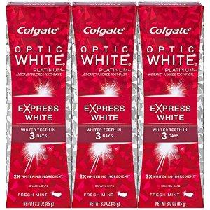 $7.98 (原价$14.99) 包邮高露洁 Optic White Express 美白牙膏 3oz x 3支