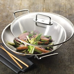 仅€66.99收32cm中式炒锅Zwilling 双立人不锈钢炒锅 带锅盖和沥油架 可炒、煎、炸