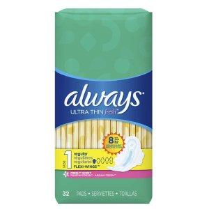 $6.56(原价$15.98)ALWAYS 日用护翼卫生巾32片
