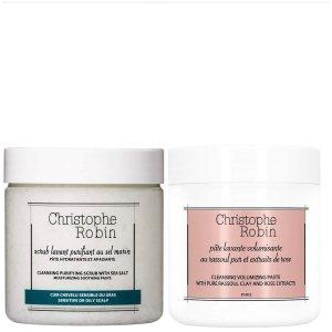 Christophe Robin价值超$98海盐洗发膏250ml+玫瑰发泥40ml