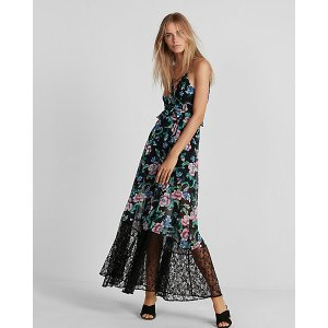 ExpressFloral Strappy Lace-up Maxi Dress
