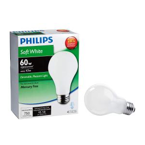 $10.91(原价$25.24)Philips 飞利浦 426031 节能灯 43w A19 4个装