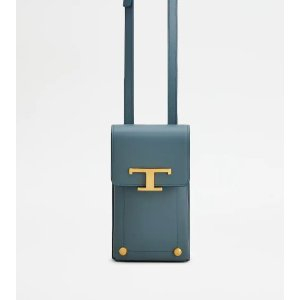 Tod'sTimeless Phone Holder in Leather - BLUE