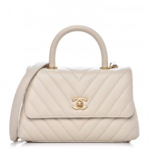 CHANEL Caviar Chevron Quilted Mini Coco Handle Flap Light Beige 281649