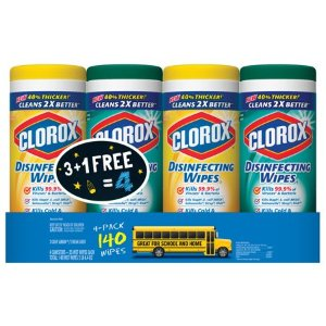 $6.48 Free In-Store PickupClorox Disinfecting Antibacterial Wipes Value Pack, Clorox Disinfecting Wipes plus Clorox Disinfecting Wipes with Micro-Scrubbers - 140 Count (Pack of 4)