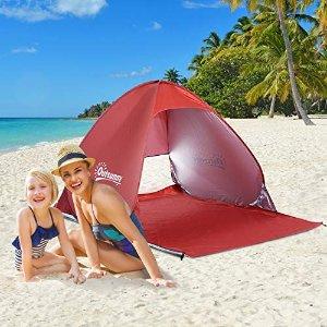 8折,简易组装,防晒防雨,4色可选便携沙滩帐篷