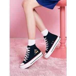 JINNY KIM码全 合成纤维Disney Mickey 米奇高帮帆布鞋