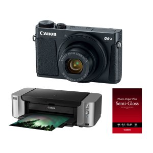 Canon PowerShot G9 X Mark II 20.1MP Digital Camera (Black) With Pixma Pro-100 Printer And Paper
